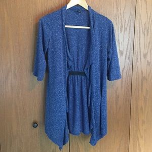 Blue open-front cardigan